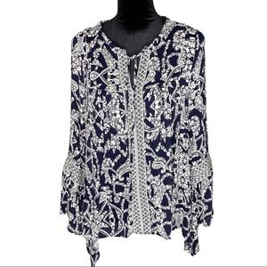 ALTAR'D STATE Blue & Cream Embroidered Boho Bell Sleeve Blouse